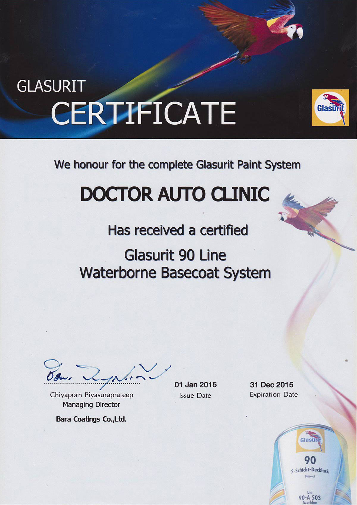 Glasurit Certificate